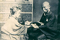 Photograph of Pulse Diagnosis in the Early Meiji Period (mid-nineteenth century) (from the collection of the Nagasaki University Library)